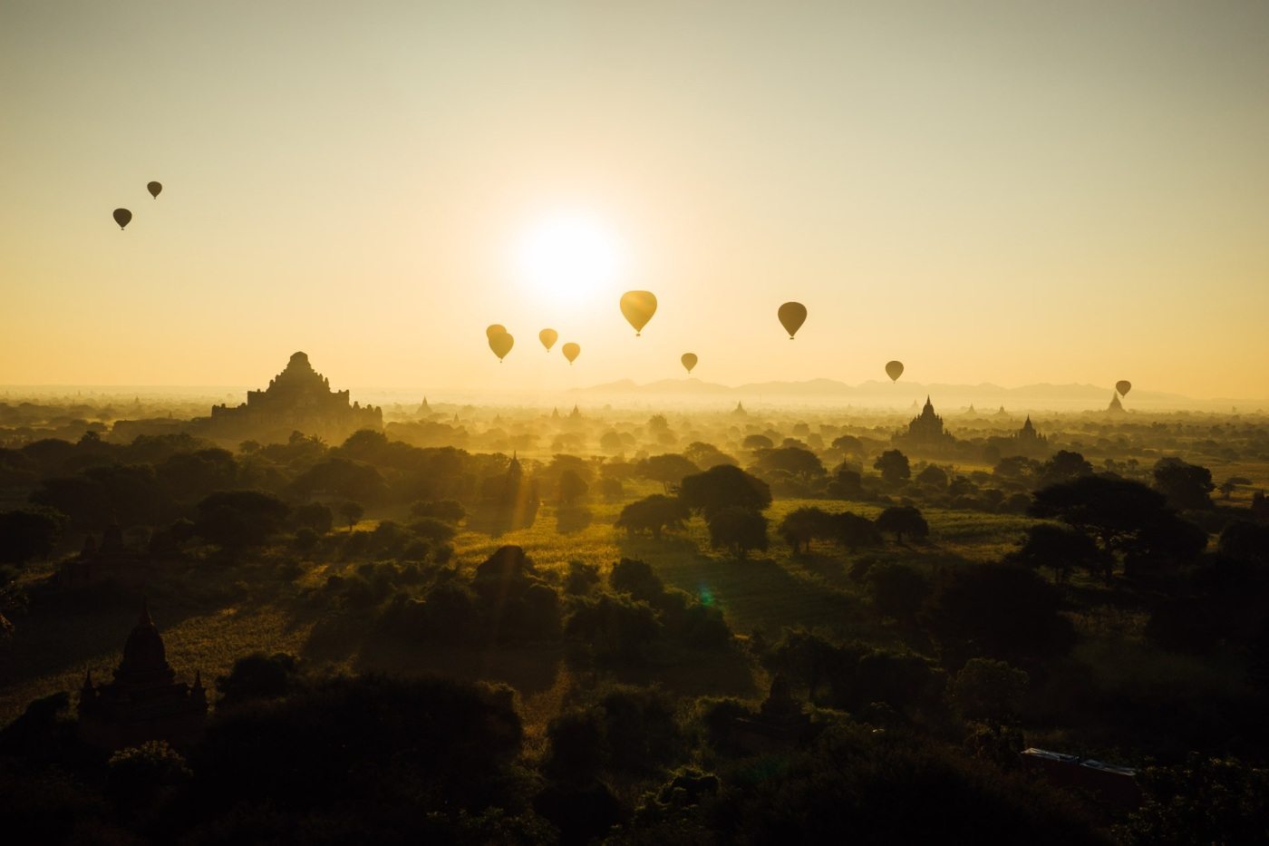 Hot air balloons in sunset