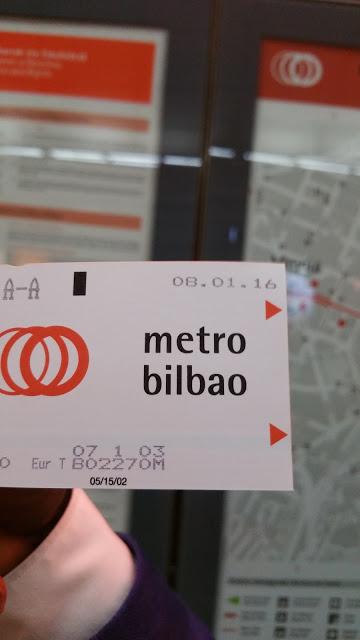 Metro ticket in Bilbao