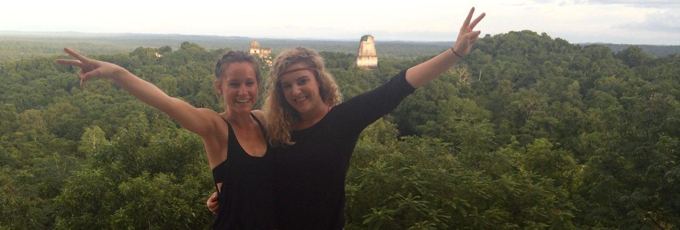 Jana on the left, in Tikal with her friend Melanie