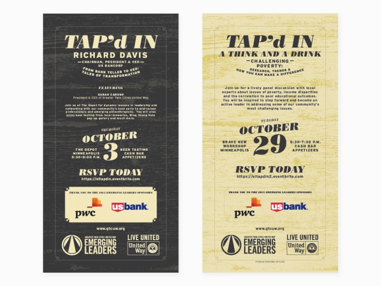 Two-sided invite for an event designed by Mike Weinhandl.
